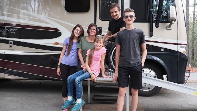 Full-time RV living family